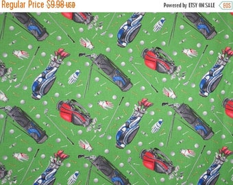 ON SALE Golf Gear on Green Print Pure Cotton Fabric--By the Yard