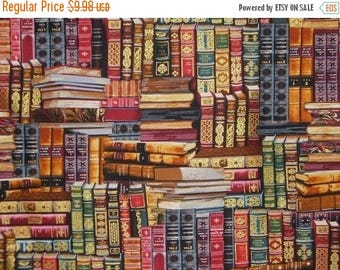 ON SALE Library Books Print in Reds and Gold Pure Cotton Fabric--By the Yard