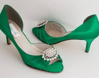 Emerald Green Bridal Shoes Emerald Green Wedding Shoes with Crystal Oval Brooch or PICK FROM 100 COLORS Bridesmaid Shoes