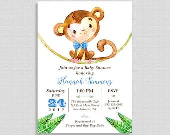 Monkey Baby Shower Invitation, Jungle Baby Shower Invite, Blue, Baby Boy, DIY PRINTABLE