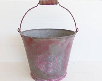 Vintage Galvanized  Pail, Heavy Duty Bucket, Garden Planter