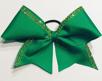 Green Sparkles Cheer Bow
