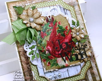 Joy to the world Christmas Greeting Card Polly's Paper Studio Handmade