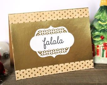 Handmade Christmas Card, Fa la la , Gold Polka Dot Card, Blank Inside, One of a Kind,Free US Shipping