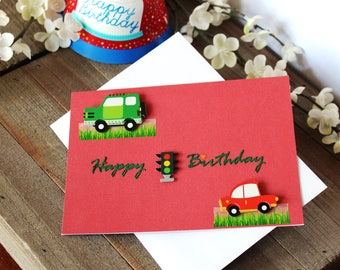 Handmade Young Child Birthday Card, Cars and Stop Light Theme, Happy Birthday, Blank Inside, Unique, Free US Shipping,