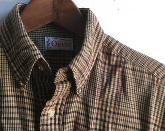 Vintage Orvis Plaid Flannel Shirt Size S