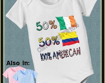Custom 50 Irish 50 Colombian 100 American baby infant  Bodysuit Italy Portugual heritage Nationality flag baby bodysuit baby shower gift