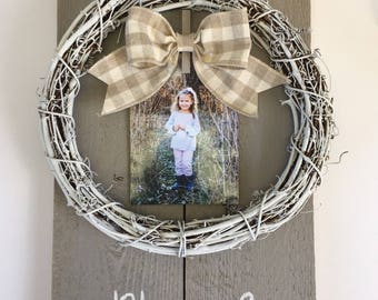 Blessed 12x18 Photo Board Wreath in Taupe