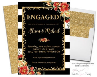 Engagement Party Invitation, Fall Bridal Shower Invitation, Autumn Bridal Shower Invite, Engagement Invitation, Floral Bridal Shower