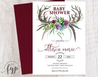 Baby Shower Invitation Printable Floral Baby Shower Invite Rustic Invitation Rustic Tribal Baby Sprinkle Gender Neutral Baby Invitation