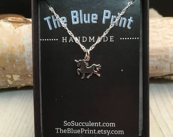Unicorn Sterling Silver Charm  Pendant Necklace  /Teenager gift / little girls gift  / Teacher gift / co-worker gift / bridesmaid gift