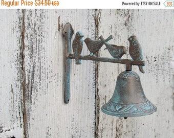 ON SALE Iron Bell~Bird Cast Iron  Dinner Bell ~Rustic~Farmhouse~Shabby Chic~Patina~Bird Decor