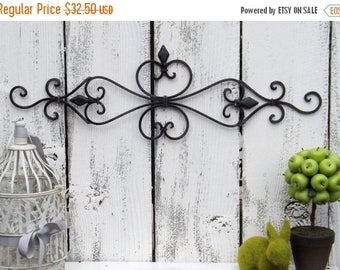 ON SALE Ornate Black Wall Decor / Wrought Iron  / Ornate Wall Decor / Shabby Chic Decor / Bedroom Wall Decor / Kitchen Decor