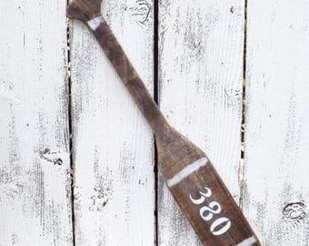 ON SALE Rustic  Wooden Oar / Wood Oar / Nautical Decor/ House Number / Beach Decor