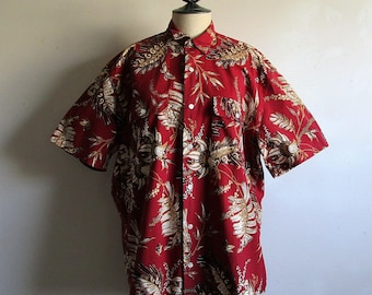 Vintage 1980s Banana Republic Mens Shirt BATIK Cotton Burgundy Tropical Print S/S Casual Dress Shirt M