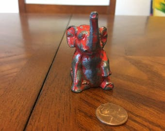 Vintage Sitting Elephant w/Red Paint