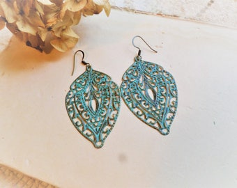 Large Filigree Brass Tone with Patina Dangle Drop Earrings