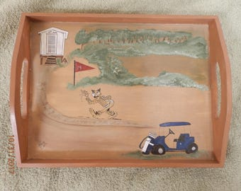 Wooden tray, Groucho Marx on golf course