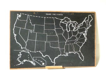"""Vintage USA Chalkboard ... School House Chalk Board Map, Retro Small United States Wall Map, Name the State Map, 16"""" x 24"""" Industrial Modern"""