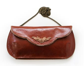 50% Off Gorgeous brown leather clutch, flower clutch, brown evening bag, brown leather purse, Liberina bags
