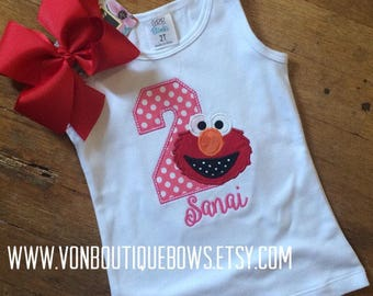 Red pink Monster polka dot bow Personalized Boutique Number Birthday First 1st 2T 3 4 5 6 8 Girls Applique Short Long Sleeve Tank