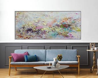 large painting,70x30 large wall art,Contemporary multi color, colorful painting,gold leaf  abstract,abstract painting