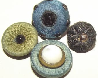 Antique Buttons ~ Victorian Fabric Buttons w/ Embellishments ~ Glass Centered Fabric Buttons