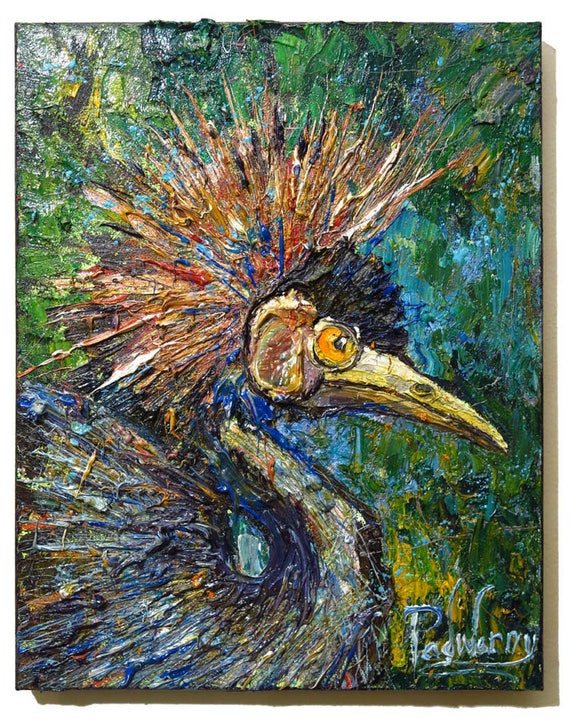 SOLD - Oil Paint on Stretched Canvas of 20 by 16 by 3/4 in. / Original oil painting  bird art abstract animal expressionism wild gallery nyc