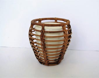 Mid century rattan plant pot and container/ boho planter/ ceramic pot and basket