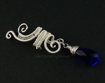 SALE - Silver Woven Upper Swirls Ear Cuff  - Custom Charms Available