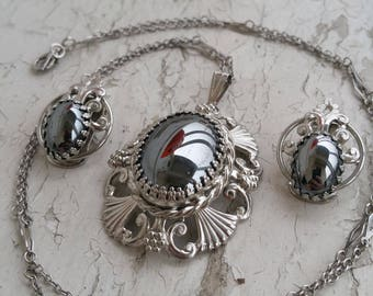 Hematite Jewelry set Necklace and Clip on earrings
