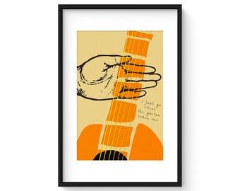 I Just Go Where The Guitar Takes Me - Giclee Print - Contemporary Modern Guitar Art