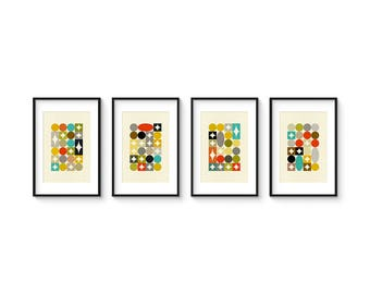 PALETTE 8x12 Format - Collection of (4) Giclee Prints - Mid Century Modern Danish Modern