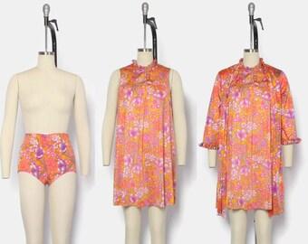 Vintage 60s 3pc Lingerie SET / 1960s Vanity Fair Bright Floral Nightgown Peignoir Robe & Girdle Panties