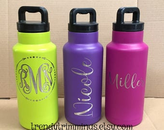 36 oz Ozark Trail™ Water Bottle- Laser Engraved/Etched Powder Coated Stainless Steel- with screw on top- only a few left!