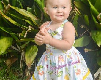 Toddler Tweens summer floral boutique dress sizes 2T 3T 4T 5 6 7 8 10 12 14