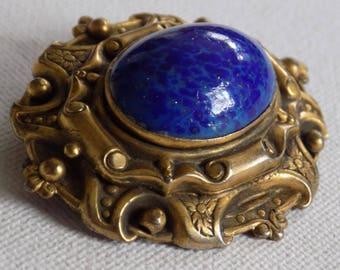 Vintage brooch, Victorian  antique brooch, blue faux Lapis Lazuli and bronze tone brooch, retro brooch, vintage jewelry
