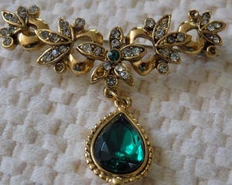 Vintage brooch.green crystal floral drop brooch, exquisite brooch, antique jewelry