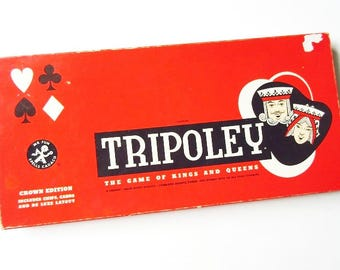 Tripoley, The Game of Kings and Queens, Vintage 1961 Cadaco Crown Edition