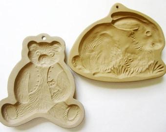 2 Brown Bag Cookie Art Molds, Teddy Bear 1984 & Bunny Rabbit 1986 Vintage