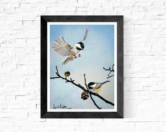 Chickadee Art Print/Chickadee Painting/Bird Lover Gift/Chickadee Fine Art/Chickadee Wall Art Decor/Chickadee Painting Print/Nature/Rustic