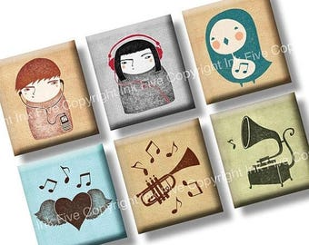 I Love Music scrabble tile images 0.75x0.83 inch squares. Two 4x6'' Collage Sheets for scrabble pendants. Digital whimsical printables