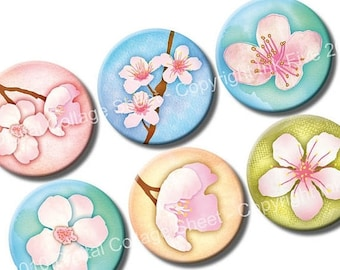 Cherry Blossom 1 inch circles. Spring flowers Digital bottle caps. Printable floral images for jewelry, magnets. Japanese cherry flowers