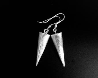 Elegant Sterling Silver Earrings, Silver Spike Earrings, Dangle Drop Earrings, Sterling Silver Jewelry, Brushed Spike Earrings