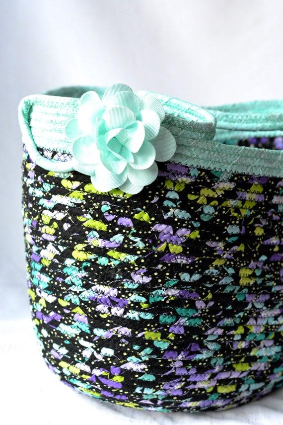 Fall Decorative Basket, Handbag, Tote Bag, Handmade Storage Basket, Lovely Shopping Basket, Decorative Aqua Home Decor