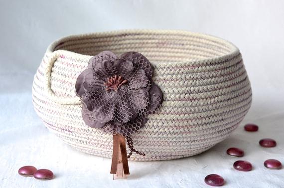 Minimalist Beige Bowl, Handmade Rope Basket, Modern Plum Clothesline Basket, Lovely Candy Bowl,  hand coiled natural rope basket