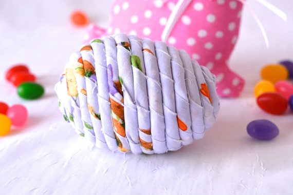 Violet Easter Egg, Handmade Easter Decoration, Lavender Easter Egg, Cute Easter Basket Filler, Easter Egg Hunt Egg, Artisan Coiled