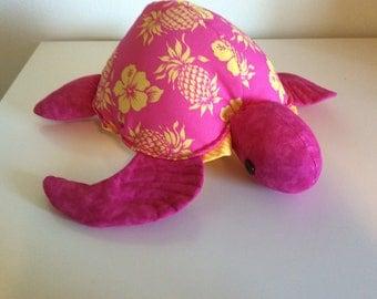Honu(turtle) Hawaiian hibiscus and pineapple fabric, pink with a heart