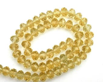 161 - 8mm 6 mm yellow faceted glass beads lot 10