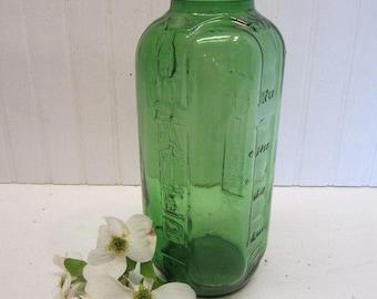 Vintage Green Glass Water Juice 40 oz Bottle